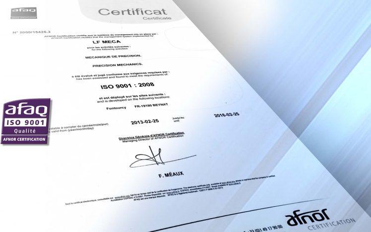 certificat afaq ISO 9001 LF MECA